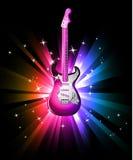 Fond de danse de disco avec la guitare électrique Image stock