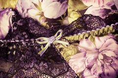 Fond de dentelle féminin de sous-vêtements Photos stock