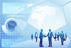 Fond de diagramme de finances d'abrégé sur Hand Shake Over d'homme d'affaires de deux silhouettes, concept d'accord de poignée de Images stock