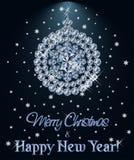 Fond de diamant de Joyeux Noël et de bonne année avec la boule de Noël, vecteur illustration stock