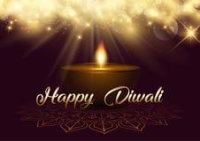 Fond de Diwali avec les lumières et la lampe de bokeh illustration libre de droits