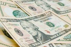 Fond d'argent avec des factures de dollar US Image stock
