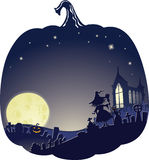 Fond de double exposition de Halloween avec la sorcière sur le cimetière Photos stock