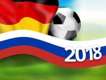 fond 2018 de drapeau du football de la Russie Allemagne du football 3D Photographie stock libre de droits