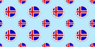 Fond de drapeau de l'Islande Formes rondes islandaises Configuration sans joint Icônes de cercle de vecteur Symboles géométriques illustration stock