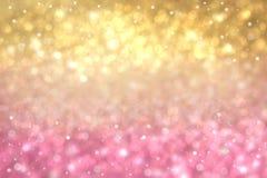 Fond de fête de bokeh de rose d'or léger de gradient de résumé avec les cercles brouillés par étincelle de scintillement, lumière illustration de vecteur