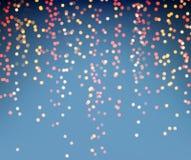 Fond de fête brillant bleu avec les lumières d'or illustration stock