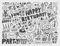 Fond de fête d'anniversaire de griffonnage Image stock