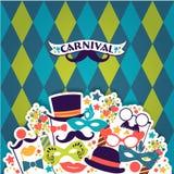 Fond de fête de célébration avec des icônes et des objets de carnaval Photos libres de droits