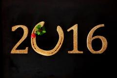 Fond de fête de la nouvelle année 2016 avec le fer à cheval Image libre de droits
