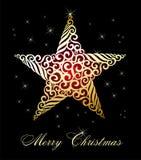 Fond de fête de Noël avec les étoiles d'or Photos libres de droits