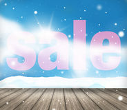 Fond de fête de paysage de vente d'hiver de neige Images stock