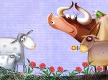 Fond de ferme avec des animaux Images libres de droits