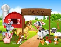 Fond de ferme avec des animaux Photographie stock