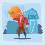 Fond de ferme de silhouette de récolte de Man Gather Pumpkin d'agriculteur Photo stock