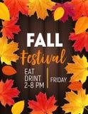 Fond de festival de chute avec Autumn Natural Leaves brillant Illustration de vecteur illustration libre de droits