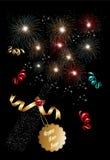 Fond 2014 de feux d'artifice de champagne de bonne année Photos stock