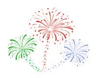 Fond de feux d'artifice dessiné par vecteur, biscuits colorés illustration libre de droits