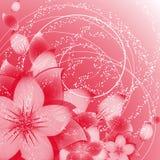 Fond de fleur sur le rouge Image stock