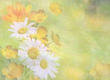 Fond de fleur Texture d'huile Seul arbre congelé Couleurs douces Globe-fleurs, camomilles renoncules Fleurs oranges Image libre de droits