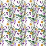 Fond de fleurs sauvages Configuration sans joint Aquarelle de fond de fleurs sauvages photos stock