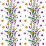 Fond de fleurs sauvages Configuration sans joint Aquarelle de fond de fleurs sauvages illustration libre de droits