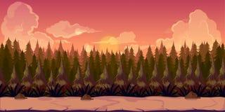 Fond de forêt de mystère 2d illustration de vecteur