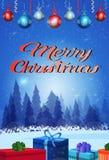 Fond de forêt de sapin de décoration de capsules de vacances de boîte-cadeau de concept de Joyeux Noël de bonne année à plat vert illustration de vecteur
