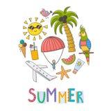 Fond de forme de cercle de vacances d'été illustration de vecteur