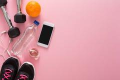 Fond de forme physique, équipement de sport, l'espace de copie Images libres de droits