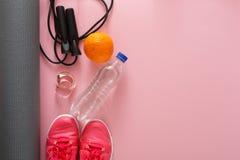 Fond de forme physique, équipement de sport, l'espace de copie Image libre de droits