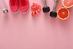 Fond de forme physique, équipement de sport, l'espace de copie Photo stock