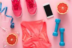 Fond de forme physique, équipement de sport, vue supérieure Photo stock