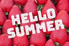 Fond de fraise avec l'été des textes bonjour photographie stock libre de droits