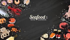 Fond de fruits de mer et de poissons illustration libre de droits
