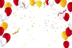 Fond de fête pour des cartes de voeux, des présentations, l'annonce commerciale avec la couleur, des ballons gonflables et des fl Photos stock