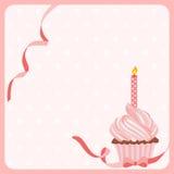Fond de gâteau de fille d'anniversaire avec une bougie illustration stock