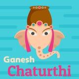 Fond de Ganesh Chaturthi, style plat Illustration de Vecteur