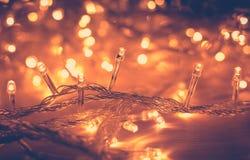 Fond de Garland Blurred Led Bulb Light de lumières de Noël photo stock
