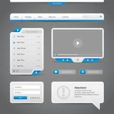 Fond de Gray And Blue On Dark d'éléments de contrôles du Web UI Photographie stock