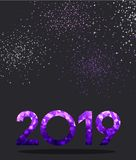 Fond de Grey New Year avec le signe pourpre du spectre 2019 illustration de vecteur