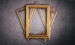 Fond de gris de cadre de photo de vintage d'or photos libres de droits