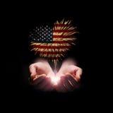 Fond de grunge de l'indépendance Day Mon coeur avec amour vers les Etats-Unis Photo libre de droits