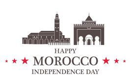 Fond de grunge de l'indépendance Day morocco Illustration Stock