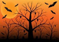 Fond de Halloween avec des battes et des arbres morts Photos stock