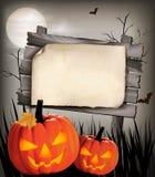 Fond de Halloween avec deux potirons Photographie stock