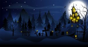Fond de Halloween avec la maison hantée, les tombes, la forêt et la pleine lune illustration stock