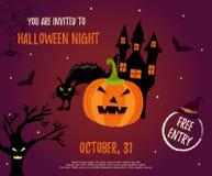 Fond de Halloween avec la maison, le chat, le potiron d'alerte et les battes rampants illustration de vecteur