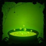 Fond de Halloween avec le breuvage magique vert Image stock