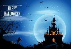 Fond de Halloween avec le château et la lune Photos stock
